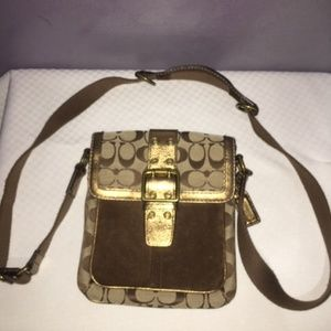 COACH LEATHER, SUEDE AND CANVAS CROSS BODY BAG